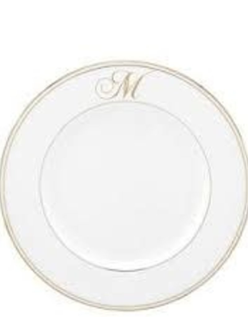 Federal Gold Monogram Script Dinner Plate