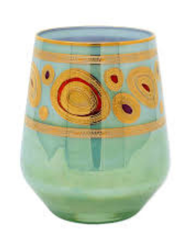 Vietri Regalia Aqua Stemless Wine Glass