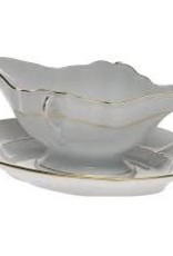 Herend - Golden Edge Gravy Boat w/ Fixed Stand