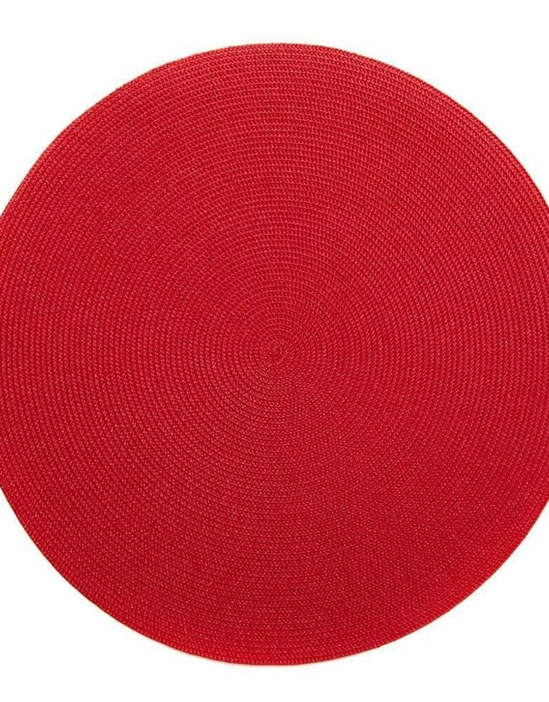 Deborah Rhodes- H17 Holiday Red Linen Braid Placemat