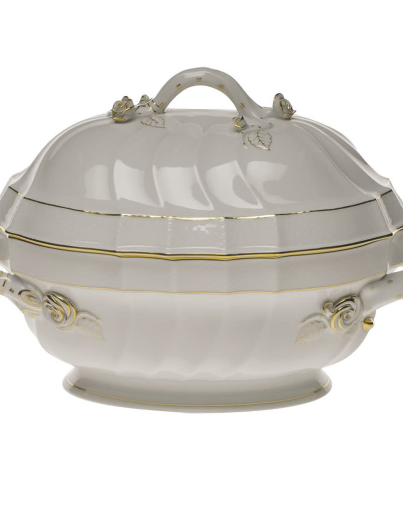 Herend - 2 Quart Golden Edge Soup Tureen w/ Branch