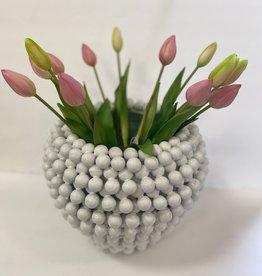 White Pom Pom Vase/Planter