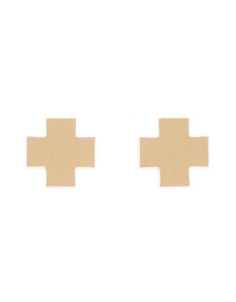 E Newton Signature Cross Earrings Studs Matte Gold