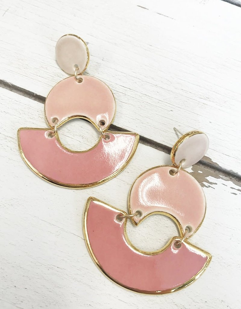 Colorblock MOD Earrings (Peach)