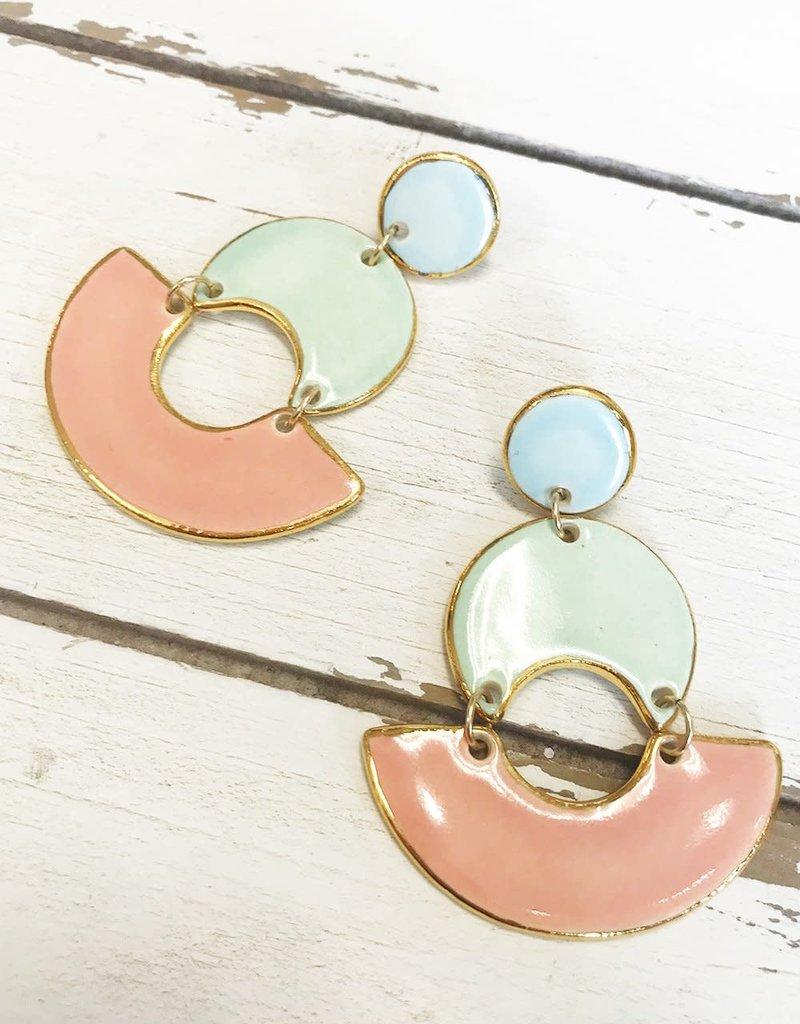 Colorblock MOD Earrings (peach/mint)