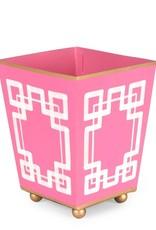 "Jaye's Studio -Interlocking Key Pink and White Square Cachepot 6"""
