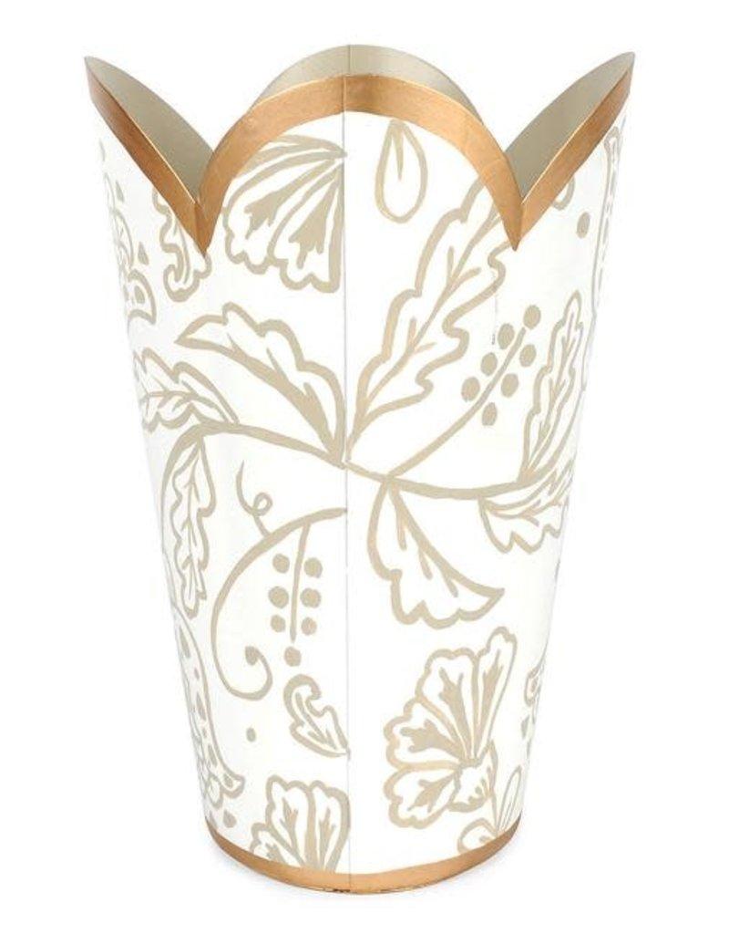 "Jaye's Studio - Floral Silhouette Tulip Wastebasket 17"" (white/taupe)"