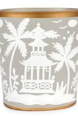 Jaye's Studio- Taupe/White Shanghai Large Oval Wastebasket 12x10x8