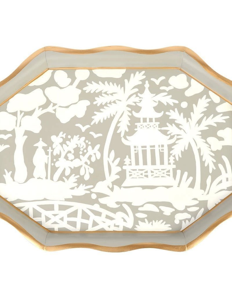 "Jaye's Studio - Floral Silhouette Tea Tray 22"" (white/taupe)"