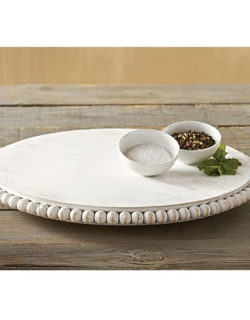 Whitewash Beaded Lazy Susan
