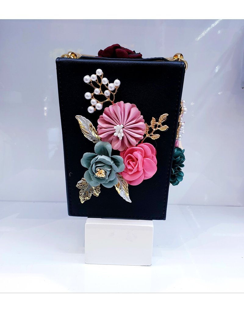 40241209 - Black Flower Clutch Bag