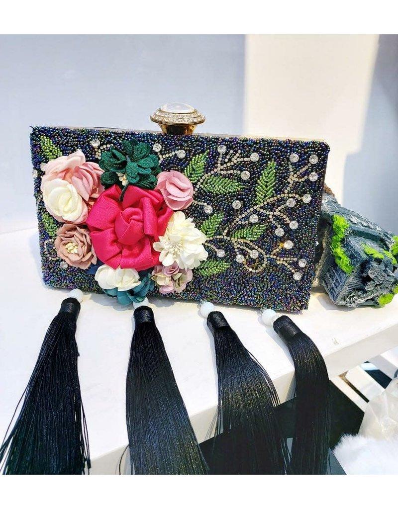 40241219 -  Black Floral Clutch Bag