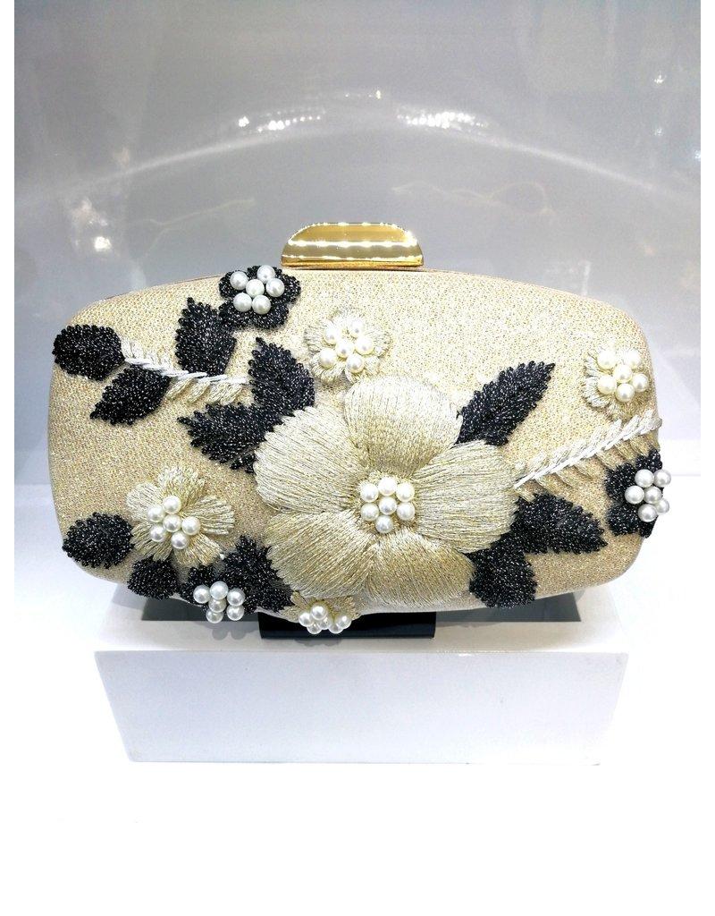 40241223 -  Crème, Black Clutch Bag