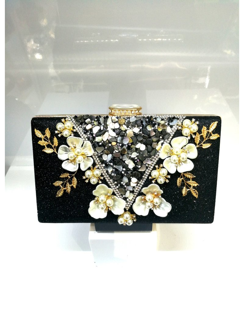 40241260 -  Black, Floral Clutch Bag