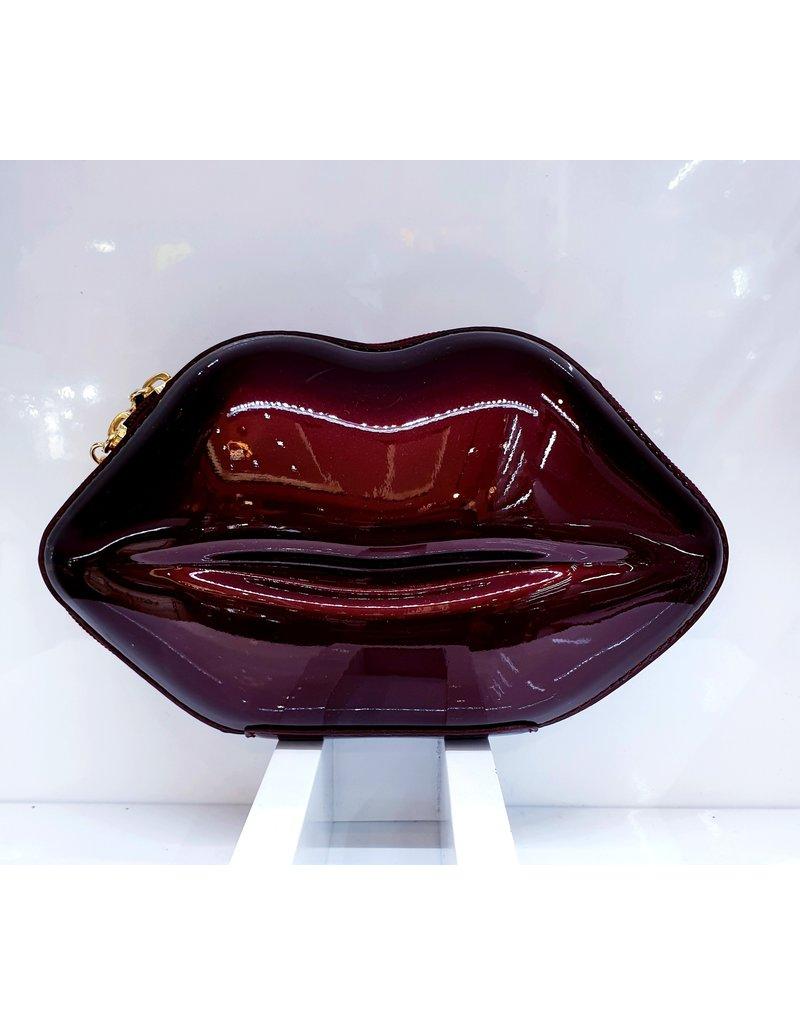 40241280 -  Burgundy Lips Clutch Bag