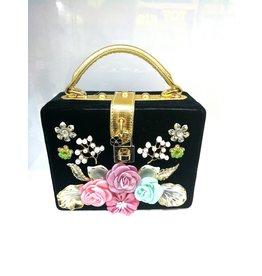 40241324 - Black Square Floral Clutch Bag