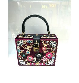 40241332 - Burgundy Floral Clutch Bag