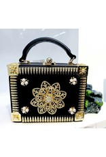 40241328 - Black , Gold Box Clutch Bag