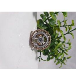 Rose Gold, Silver Baguette Crystal Ring
