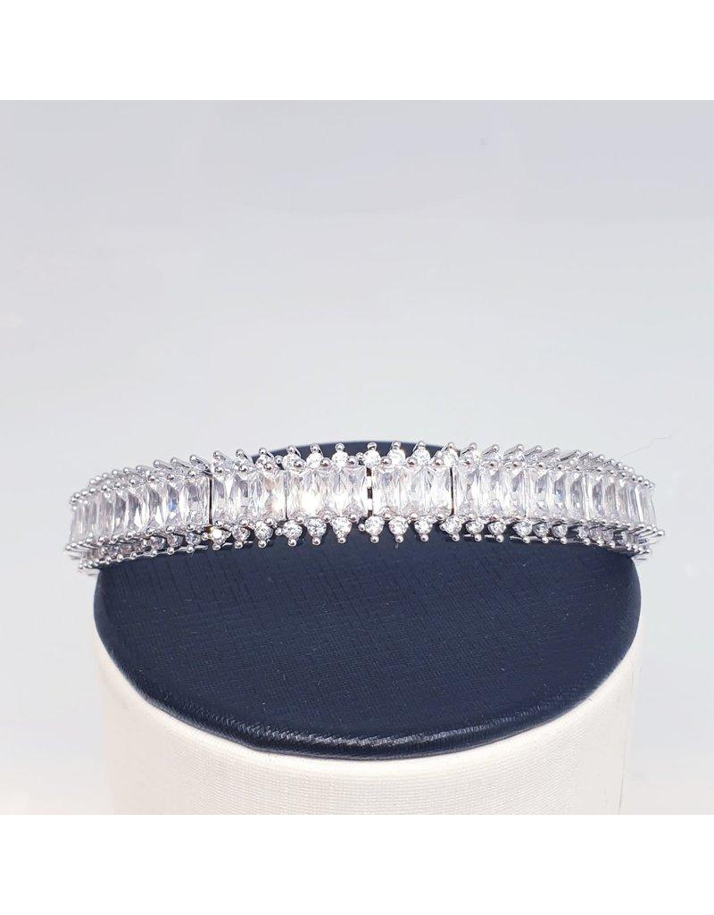 BGD0014 - Silver,Baguette Bangle