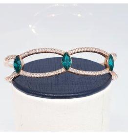 BGD0054 - Rose Gold,Emerald Green Bangle