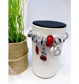 BAE0004-Red Pineapple Charm Bracelet
