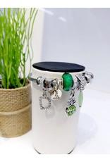 BAE0005-Green Pineapple Charm Bracelet