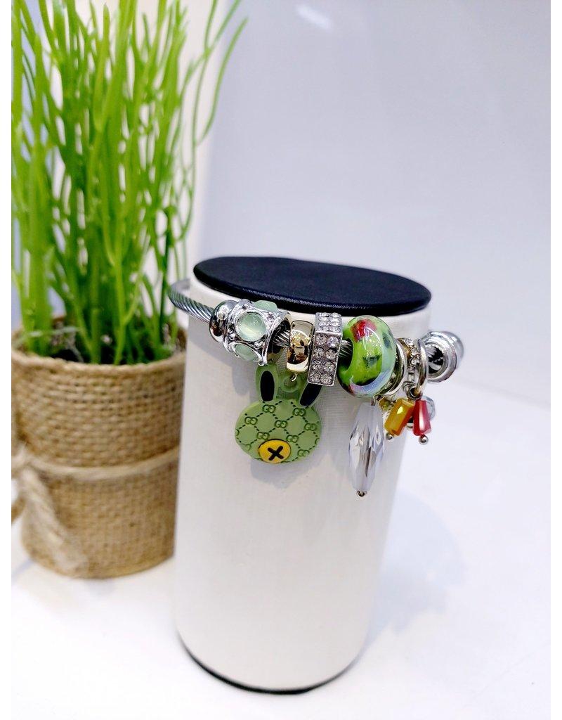 BAE0027-Green Charm Charm Bracelet