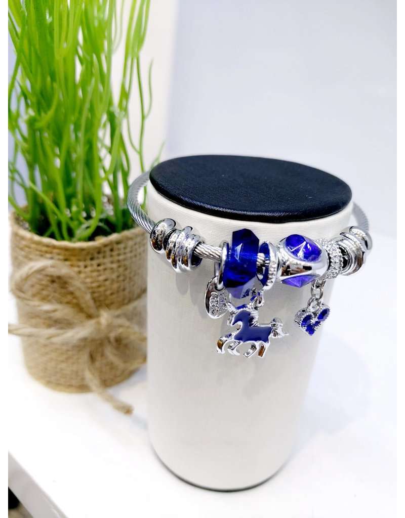 BAE0028-Blue Unicorn Charm Bracelet