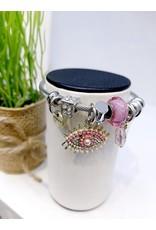 BAE0032-Pink Eye Charm Bracelet
