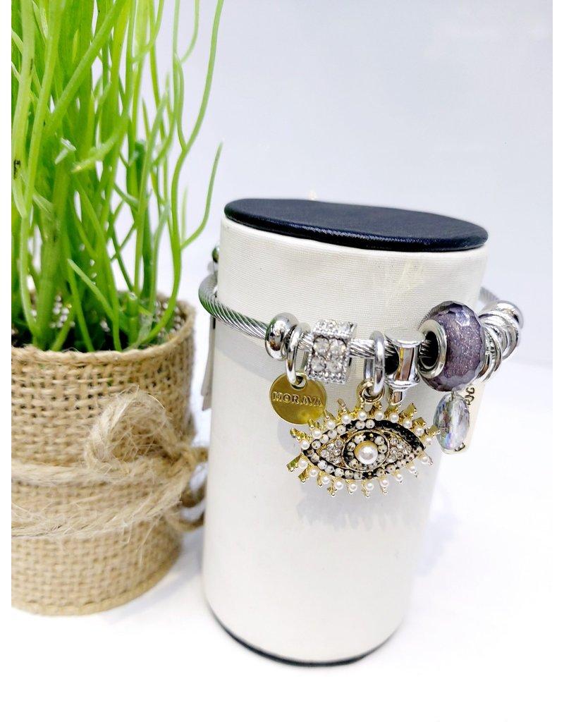 BAE0033-Half Black Eye Charm Bracelet