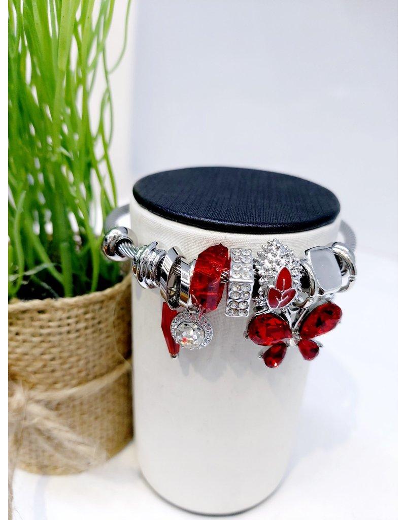 BAE0039-Red Flower Charm Bracelet