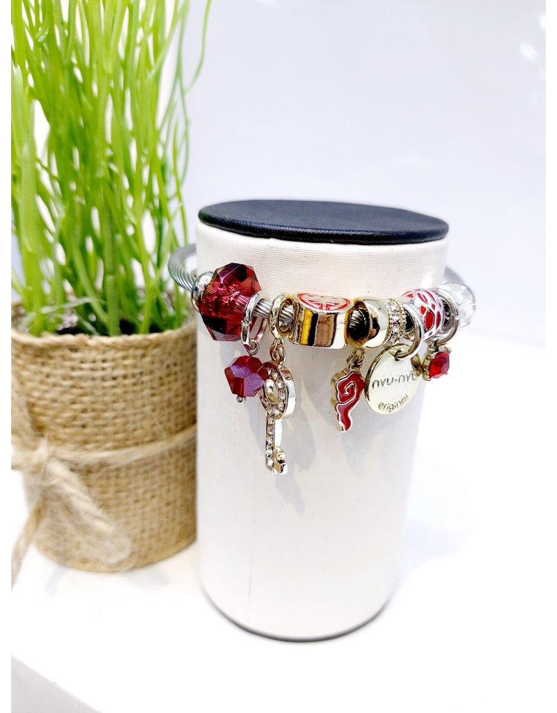 BAE0044-Red Circle Charm Bracelet