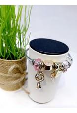 BAE0045-Pink Circle Charm Bracelet