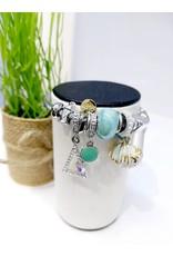 BAE0046-Light Blue Shell Charm Bracelet