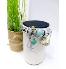 BAE0046-Light Blue Shell Charm Bracelet