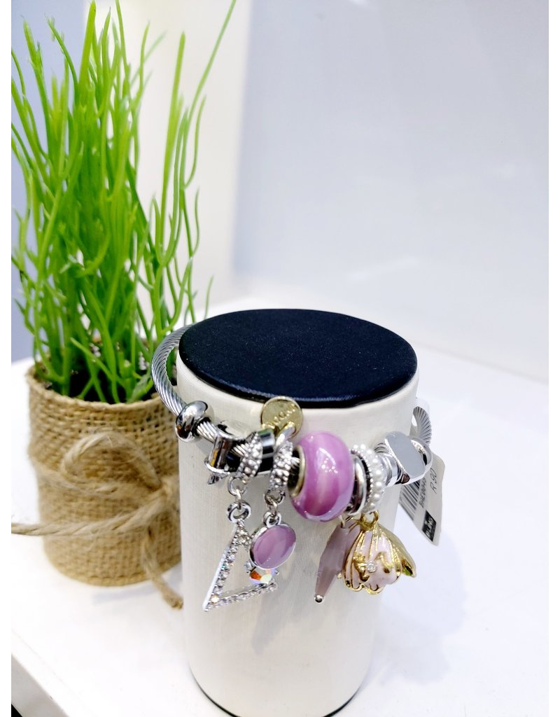 BAE0048-Light Purple Shell Charm Bracelet