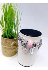 BAE0053-Pink Flower Charm Bracelet