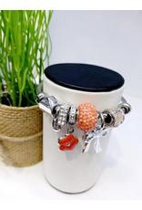 BAE0052-Orange Flower Charm Bracelet