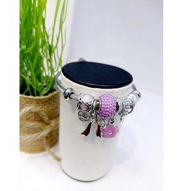 BAE0055-Purple Flower Charm Bracelet