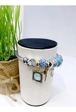 BAE0056-Gold & Blue Butterfly Charm Bracelet