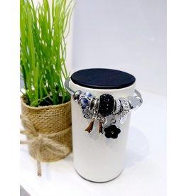 BAE0054-Black Flower Charm Bracelet