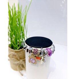 BAE0057-Orange & Purple Butterfly Charm Bracelet