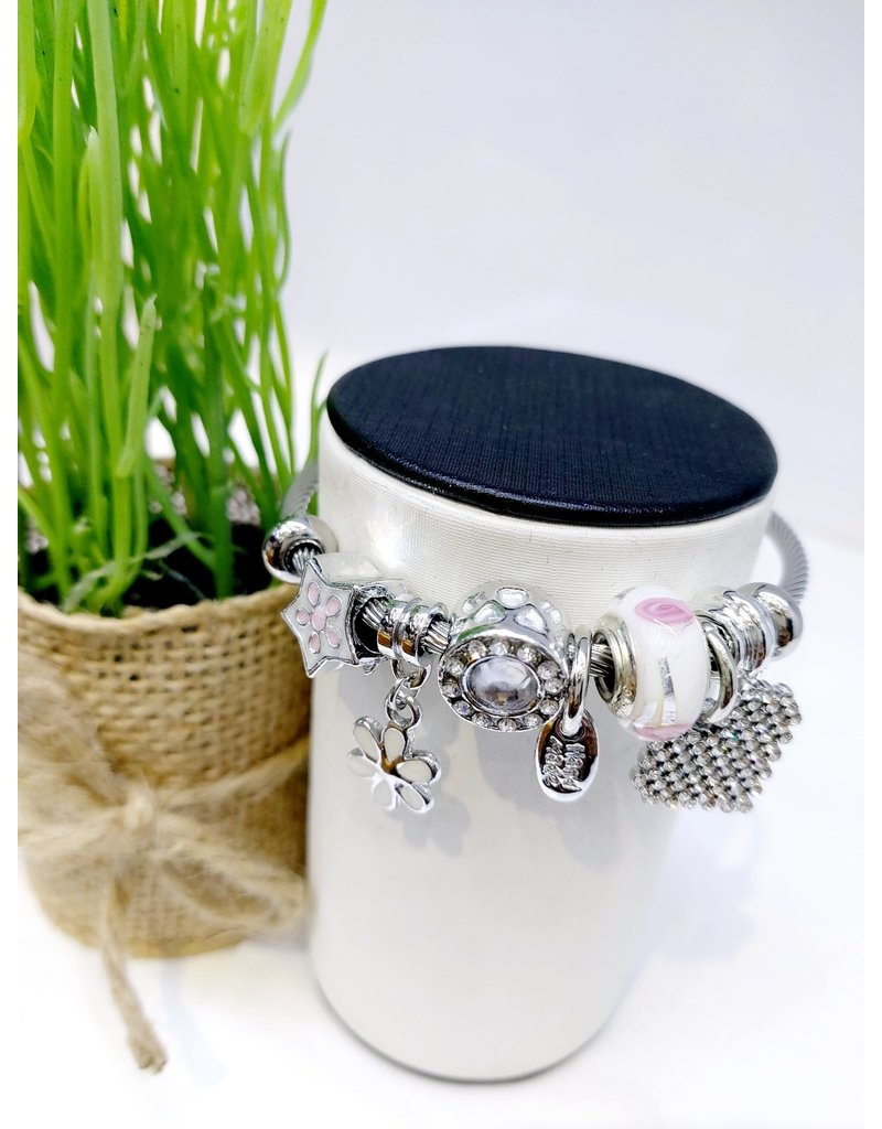 BAE0059-White Flower Charm Bracelet