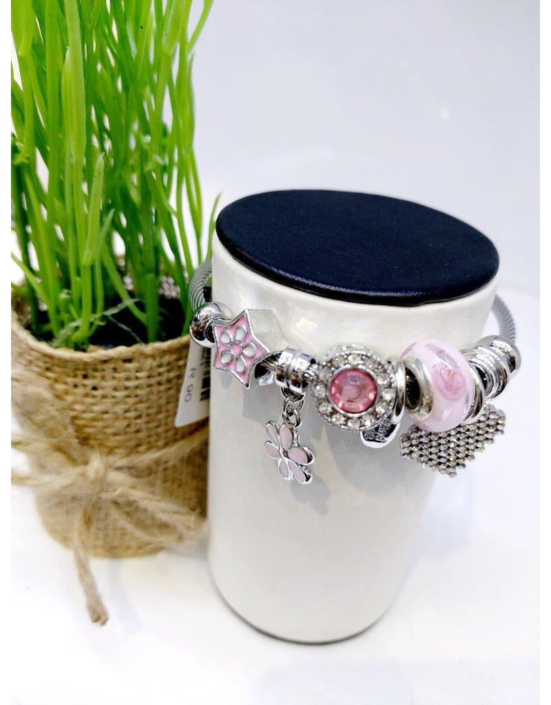 BAE0061-Pink Flower Charm Bracelet