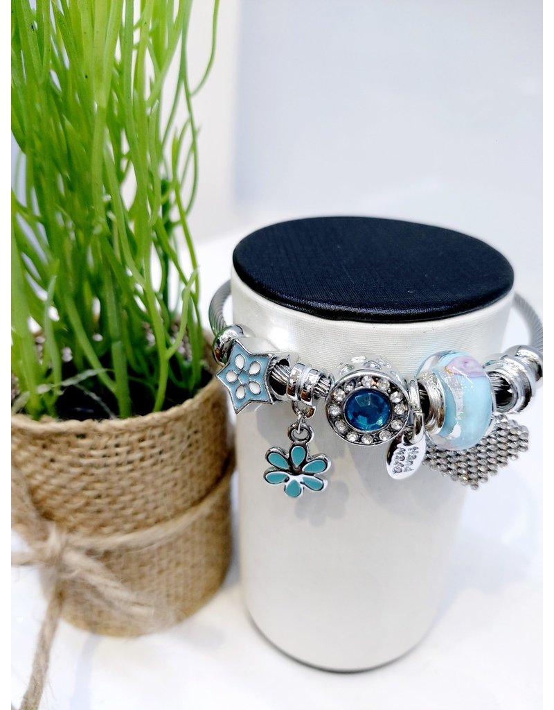 BAE0062-Blue Flower Charm Bracelet