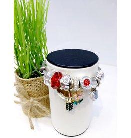 BAE0067-Pink Flower Charm Bracelet