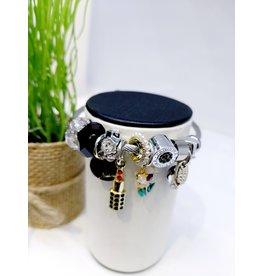 BAE0066-White & Red Flower Charm Bracelet
