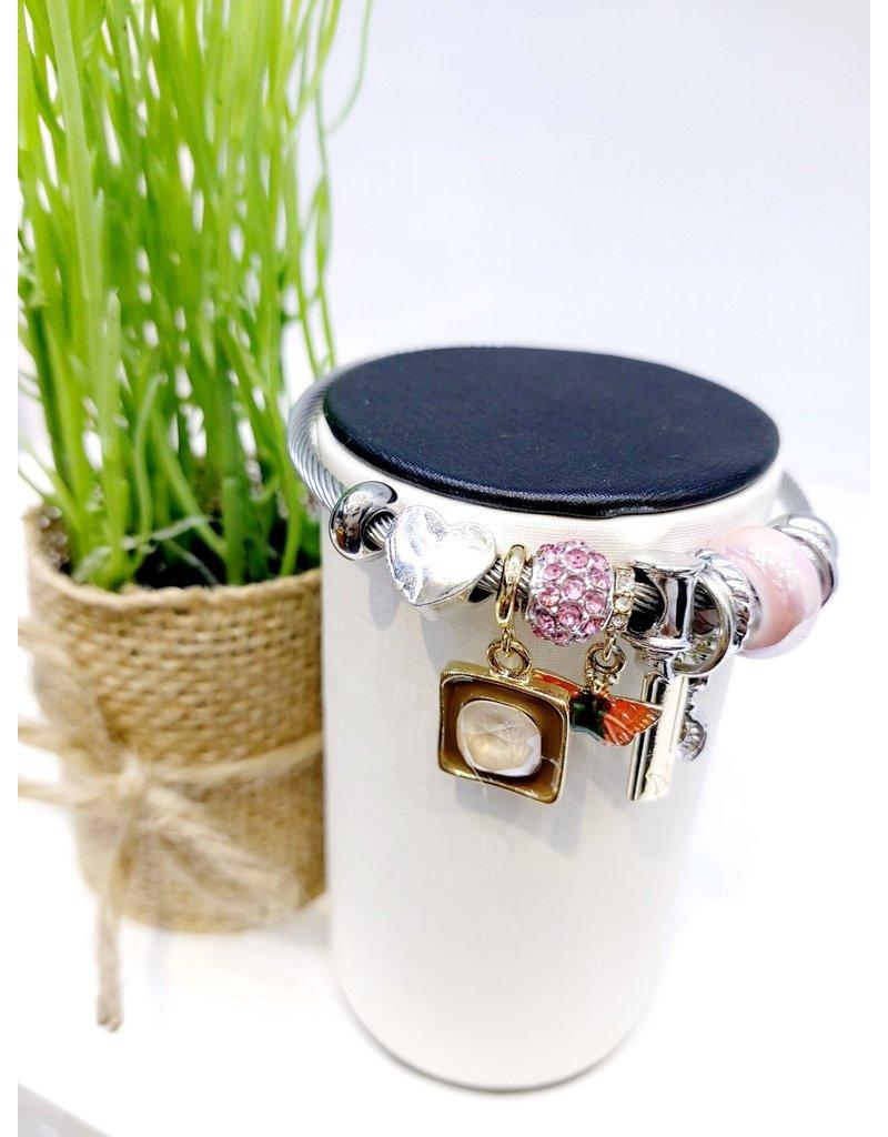 BAE0058-Orange & Green Butterfly Charm Bracelet