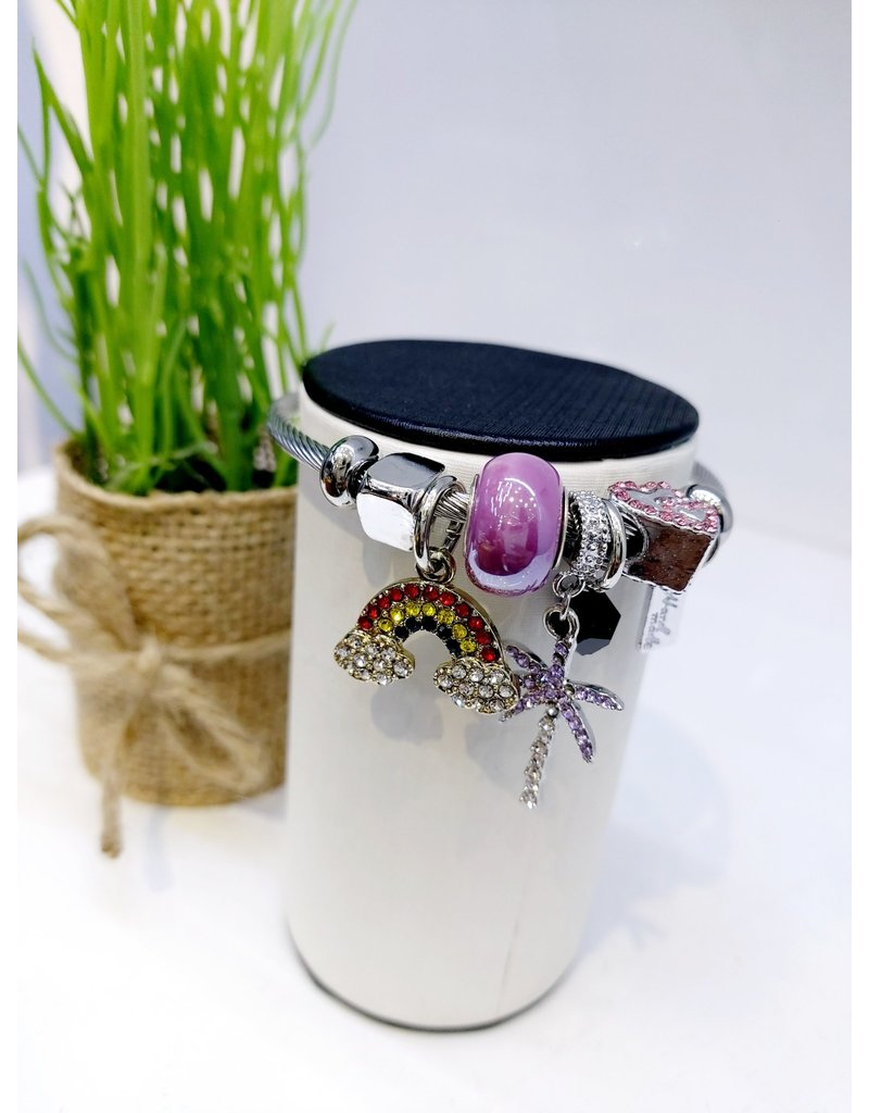 BAE0022-Purple Palm Charm Bracelet